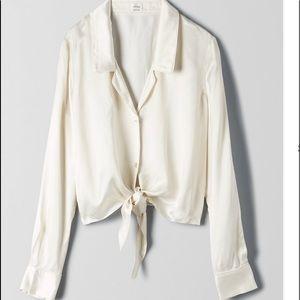 NWT Aritzia Peaufiner Silk tie blouse